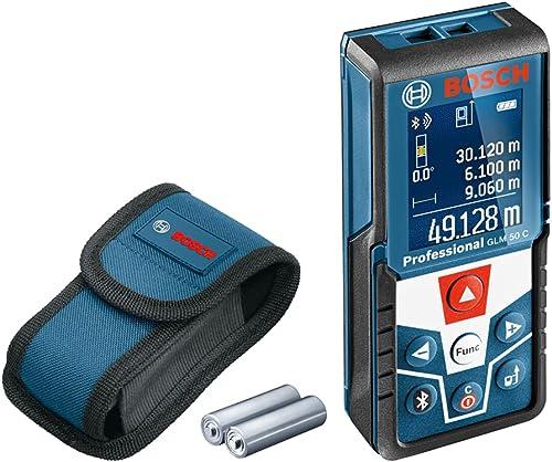 Bosch Professional Laser Entfernungsmesser GLM 50 C (Bluetooth-Datentransfer, Flächen-/Volumenberechnung, max. Messbe...