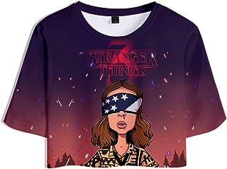 Camiseta Stranger Things Chica, Camiseta Stranger Things Mujer Cortas T Shirt Manga Corta Niña Retro tee Abecedario 3D Imp...
