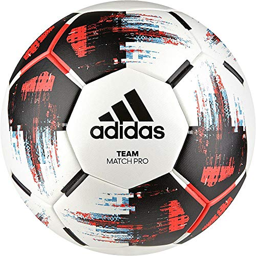 adidas Team Match Fußball, White/Black/Solar Red/Bright Cyan, 5
