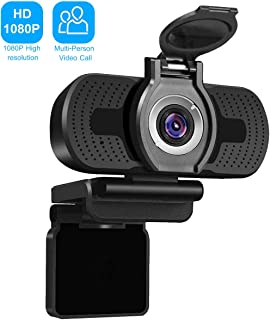 Webcam USB 1080P HD with Privacy Cover, 2MP PC Desktop Laptop Webcam with Microphone for Video Calling, Streaming, Recording, Conference Study, Skype, Plug&Play, Flexible Adjustable Clip, Wide Angle