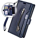 iPhone 8 Plus Case Wallet,Auker Trifold 9 Card Holder Flip Flop Sleek Faux Leather Folio Book Design Fold Stand Zipper Wallet Clutch Case with Strap&Money Pocket for Women/Men iPhone 7 Plus Blue