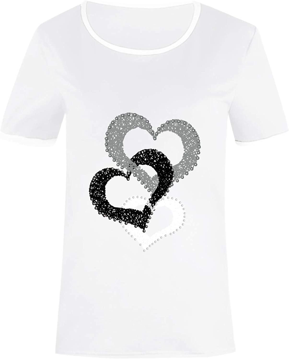 Aukbays Womens Short Sleeve Tops Heart Printing Graphic Vintage Tshirt Round Neck Pullover Casual Shirts Tees Blouses