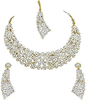 I Jewels Indian Bollywood Gold Plated Diamond Studded Party Wear Jewelry Set with Earrings & Maang Tikka for Women (M4126W)