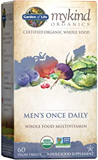 Garden of Life Multivitamin for Men - mykind Organic Men's Once Daily Whole Food Vitamin Supplement Tablets, Vegan, 60 Count