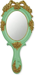 Vintage Handheld Mirror, Oval Makeup Hand Mirror Cosmetic Mirror with Handle Resin Material for Girls Women Travel Skin Ca...