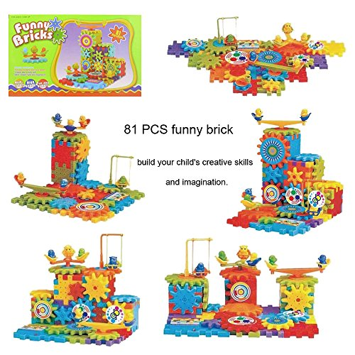 Night Lions Tech(TM) 81 PCS green box funny electric brick Gear Building Toy Set Interlocking Learning Blocks Motorized Spinning Gears Toys. Gears Gears Gears!!! by X Toys