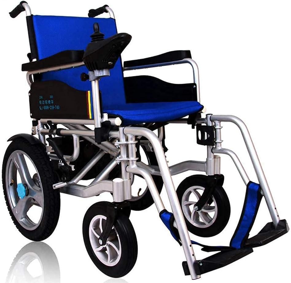 FGVDJ Silla de Ruedas eléctrica portátil, con batería de Iones de Litio de 20 Ah Silla de Ruedas eléctrica Plegable de Motor Dual para discapacitados y Personas Mayores
