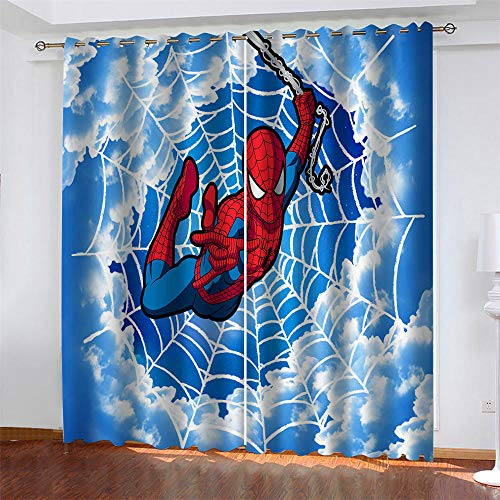 Meer 2er-Set Verdunkelungs Vorhang,Spiderman blauer Himmel Kinder Gardinen Ösen Gardine Thermo Polyester Schlafzimmer Vorhänge Dekoratives Muster Européen 160 x 140 cm (HxB)