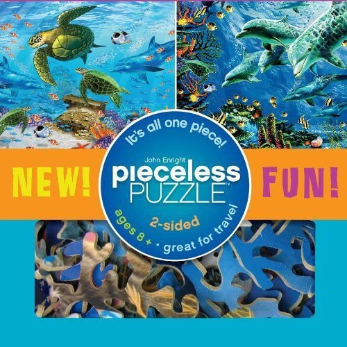 Seaside Pieceless Puzzle (2 Sided, 1 Piece) Sea Turtles & Dolphins by Ceaco (English Manual)
