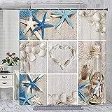 RYSSH Beach Shower Curtains,Ocean Seashell Starfish Fabric Nautical Theme Decor Curtain for Bathroom