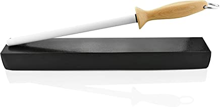 Professional 10.5 Inch Ceramic Sharpening Rod Knife Honing Steel Forged with White Japanese Ceramic & Vintage Wood Handle | Includes Case & Instructions Manual