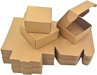 Enerhu 50Pcs Paper Handmade Soap Box Brown Paper Candy/Accessories Box Kraft Paper DIY Gift Packing Box L