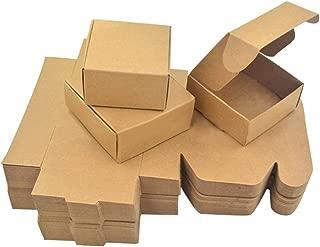 Enerhu 50Pcs Paper Handmade Soap Box Brown Paper Candy/Accessories Box Kraft Paper DIY Gift Packing Box M