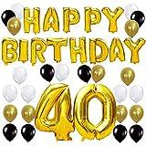 KUNGYO Happy Birthday Lettere Alfabeto Balloon+Numero 40 Mylar Foil Palloncini+24 Pezzi Oro Bianco Nero Lattice Balloons- Perfetto per Decorazioni di Festa di Compleanno di 40 Anni