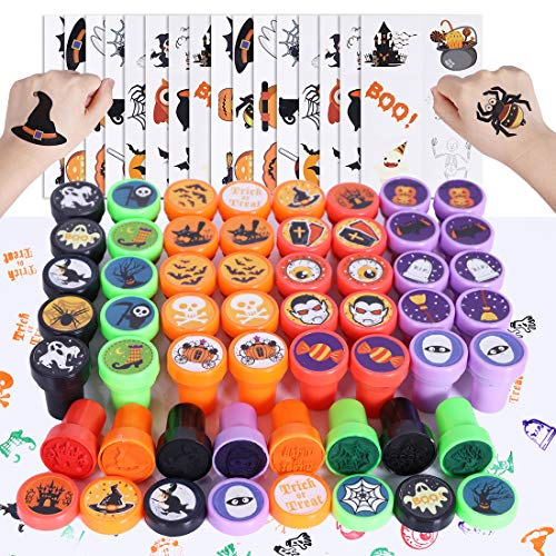 Max Fun 192pcs Halloween Party Favors Toys Halloween Stamps Halloween Stickers Halloween Temporary Tattoos for Kids Halloween Party Supplies, Goodies Bags, Classroom Game Reward Prizes