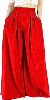 YSJERA Women's Chiffon Wide Leg Palazzo Pants Maxi Full Length Solid Gaucho Pants Culottes Trousers