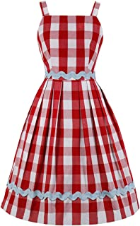 Wellwits Womens Wavy Lines Applique Red Check Wide Strap Sundress Vintage Dress