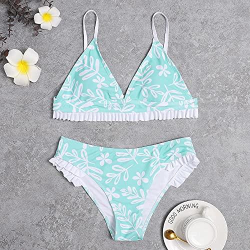 YYMY Slim Fit Cuerpo Atractivo BañAdores De Mujer Traje,Bikini Softbag con Hojas de Loto pequeñas, Cuerpo Sexy de Encaje, luz Diurna, baño-Verde Claro 1_XL
