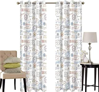 hengshu Travel Black Out Window Curtain 2 Panel Vintage Old Rubber Stamps Tourist Passport Visa Certificate Vacation Holiday Theme Living Room Curtains for Bedroom W52 x L63 Inch Multicolor