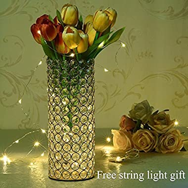 VINCIGANT Gold Crystal Hollow Cylinder Vase for Holiday House Decor Table Centerpieces,Gifts for Mom/Dad,Led Copper Wire String Light Included,Cannot Hold Water