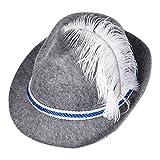 Schramm® Trachtenhut Blau/Weiß mit Feder Bayern Filzhut Trachtenhut Seppel Hut Bier Hut Tiroler Tirolerhut Bayernhut Oktoberfest Wanderhut