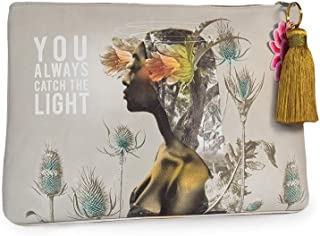 Papaya: Large Tassel Pouch, Artistic Cosmetic Bag, Carry-All Travel Clutch (Universe)