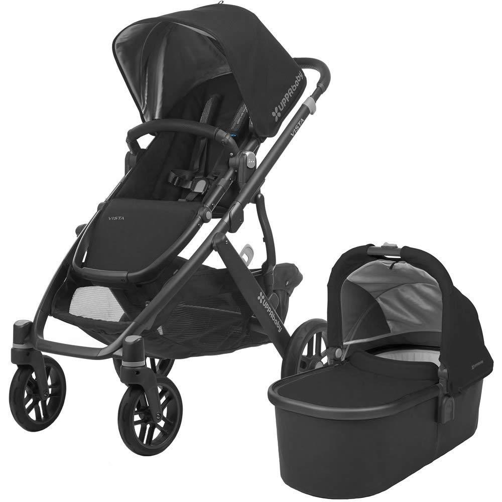 2018 UPPAbaby VISTA Stroller, Jake (Black/Carbon/Black Leather)