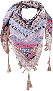 Elogoog Large Square Scarf for Women Floral Printed Bohemia Tassel Scarves Shawl Wrap