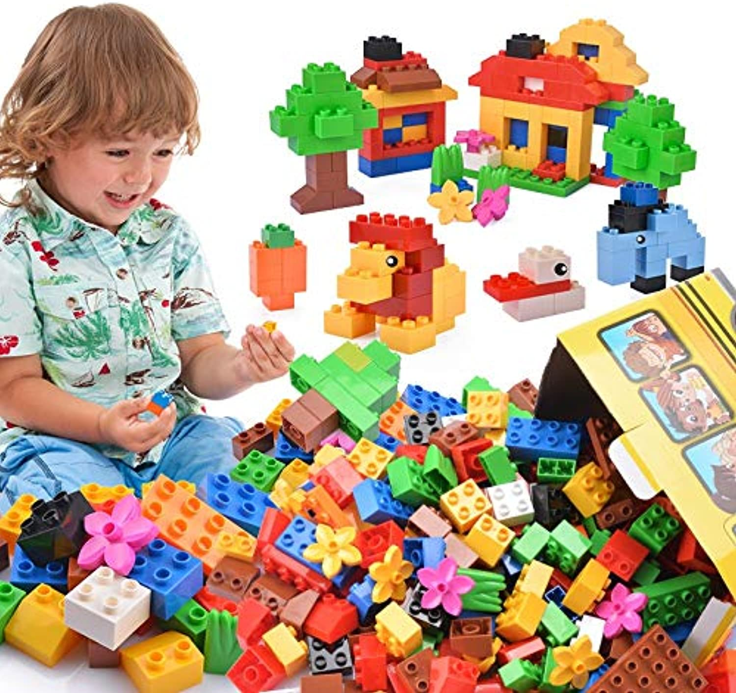 Nontoxic and environmentally friendly ABS material large particles building blocks boys and girls spelling assembling toys puzzle early education 36 years old (color   Cstorage bucket)
