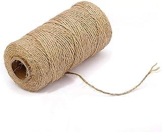 cailiya 200 Mètres 1.5 mm Ficelle Jute Naturel Un Rouleau, Ficelle Jardinage Durable pour l'emballage Cadeau, Décoration d...