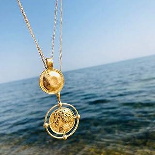 ZUXIANWANG Collar Vintage Color Oro Moneda Tallada Figura la Cadena Collar Colgante Medalla de Capa Doble