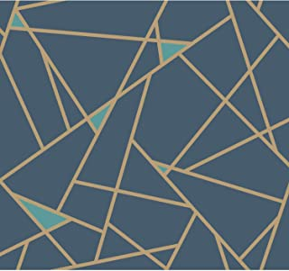 York Wallcoverings Risky Business 2 Prismatic Removable Wallpaper, Navy Blue/Metallic Gold