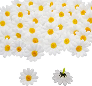 HZOnline Artificial Silk Daisy Flower Heads, Fake Fabric Gerbera Floral Head for DIY Easter Eggs Beach Bonnet Craft Wedding Arch Garland Decoration (100pcs White)