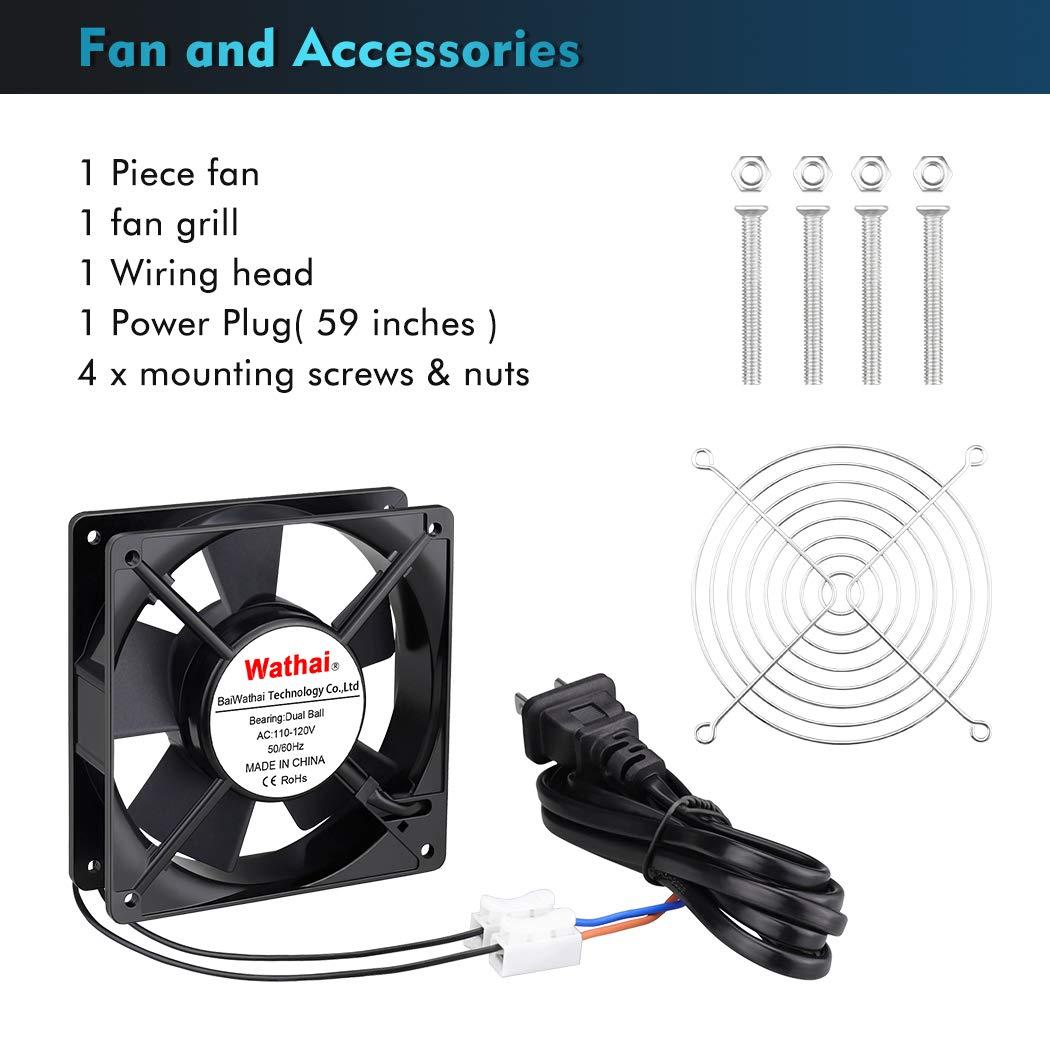 Wathai 120mm x 25mm AC Power Axial Cooling Fan 110V 120V Dual Ball for Electronic Equipment