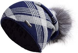 Women's Slouchy Beanie Hat with Fur Pompom Warm Winter Hat
