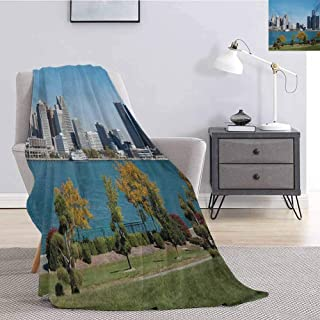 Luoiaax Detroit Commercial Grade Printed Blanket Industrial City Center Shoreline River Scenic Panoramic View in a Sunny Day Queen King W91 x L60 Inch Blue Green Silver