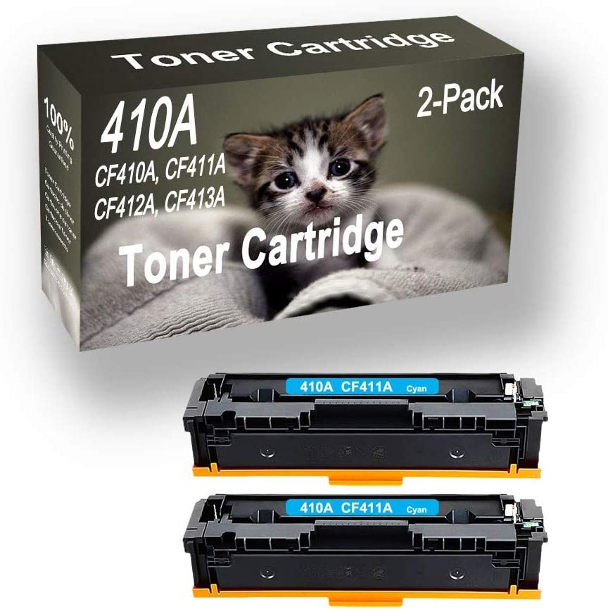 2-Pack (Cyan) Compatible Pro M452dn M452nw Laser Printer Toner Cartridge (High Capacity) Replacement for HP 410A CF411A Printer Toner Cartridge