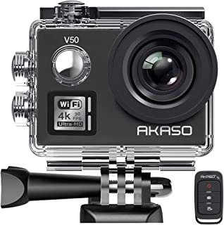 [Upgraded] AKASO V50 Native 4K/30fps 20MP WiFi Action Camera with EIS, 30m Waterproof Camera with Remote Control, 170 Degree Wide Angle, 2 Rechargeable Batteries and Mounting Accessories Kit