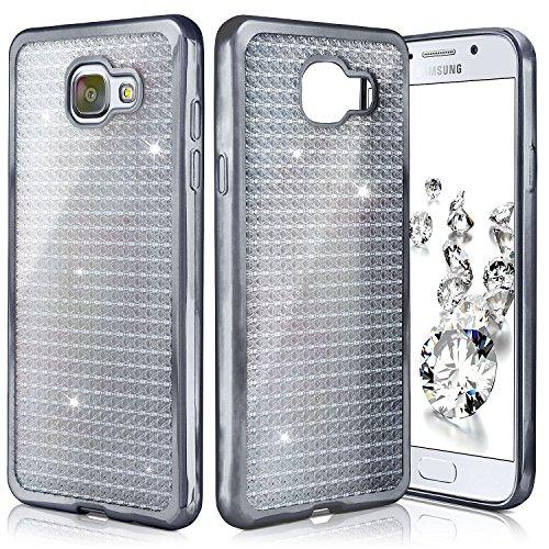 OneFlow Shiny Case para Samsung Galaxy A5 (2016) | Funda de Silicona Transparente con Efecto metálico y Brillo de Nuevo | Protección de celda Fina Bolsa Backcover en Aanthracite-Black