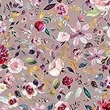 Jersey Stoff mit Blumen auf Altrosa/Nude als Meterware zum