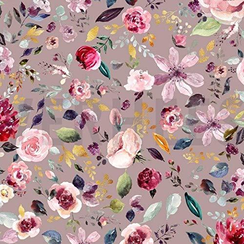 Jersey Stoff mit Blumen auf Altrosa/Nude als Meterware zum Nähen von Baby, Kinder- und Erwachsen Kleidung - GOTS zertifiziert, 50 cm