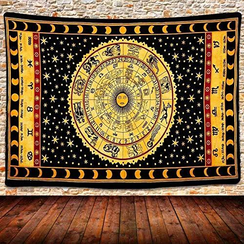 KBIASD 12 Constelación Tapiz Estrella Luna Tarot Tapiz Vintage Zodíaco Astrología Tapices Tapiz Espiritual Hippie Boho Tapiz Colgante de Pared para habitación Decoración del hogar 80x60 Pulgadas
