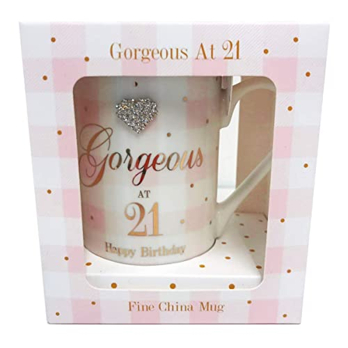 Gorgeous At 21 Mug Happy Birthday Diamante 21st Milestone Gift Girls Ladies Her