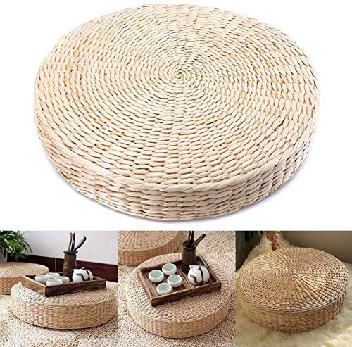 Keenso Floor Seat Cushion, 15.75inch Round Pouf Tatami Cushion Floor Pillows Cushions Straw Knitted Soft Yoga Mat Meditation Cushion for Living Room Balcony Garden Party