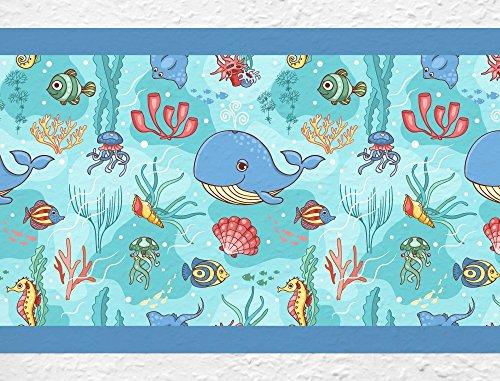 dekodino Kinderzimmer Bordüre Borte Unterwasserwelt Delfin selbstklebend