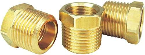 """Nigo Industrial Co. Brass Pipe Fitting, Hex Bushing Reducer, Nominal Pipe Size: 3/8"""" NPT Male x 1/4"""" NPT Female (Pack..."""