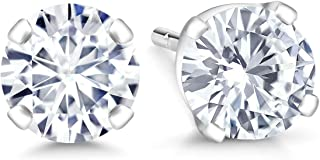 Gem Stone King IGI Certified 14K White Gold Lab-Grown Created Diamond Stud Earrings (1.00 Cttw, G-H Color, VS1-VS2 Clarity)