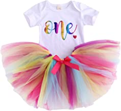 Baby Girls' 1st Birthday Tutu Dress Short Sleeve Colours One Romper Top Lace Skirt Clothes Outfit 2Pcs