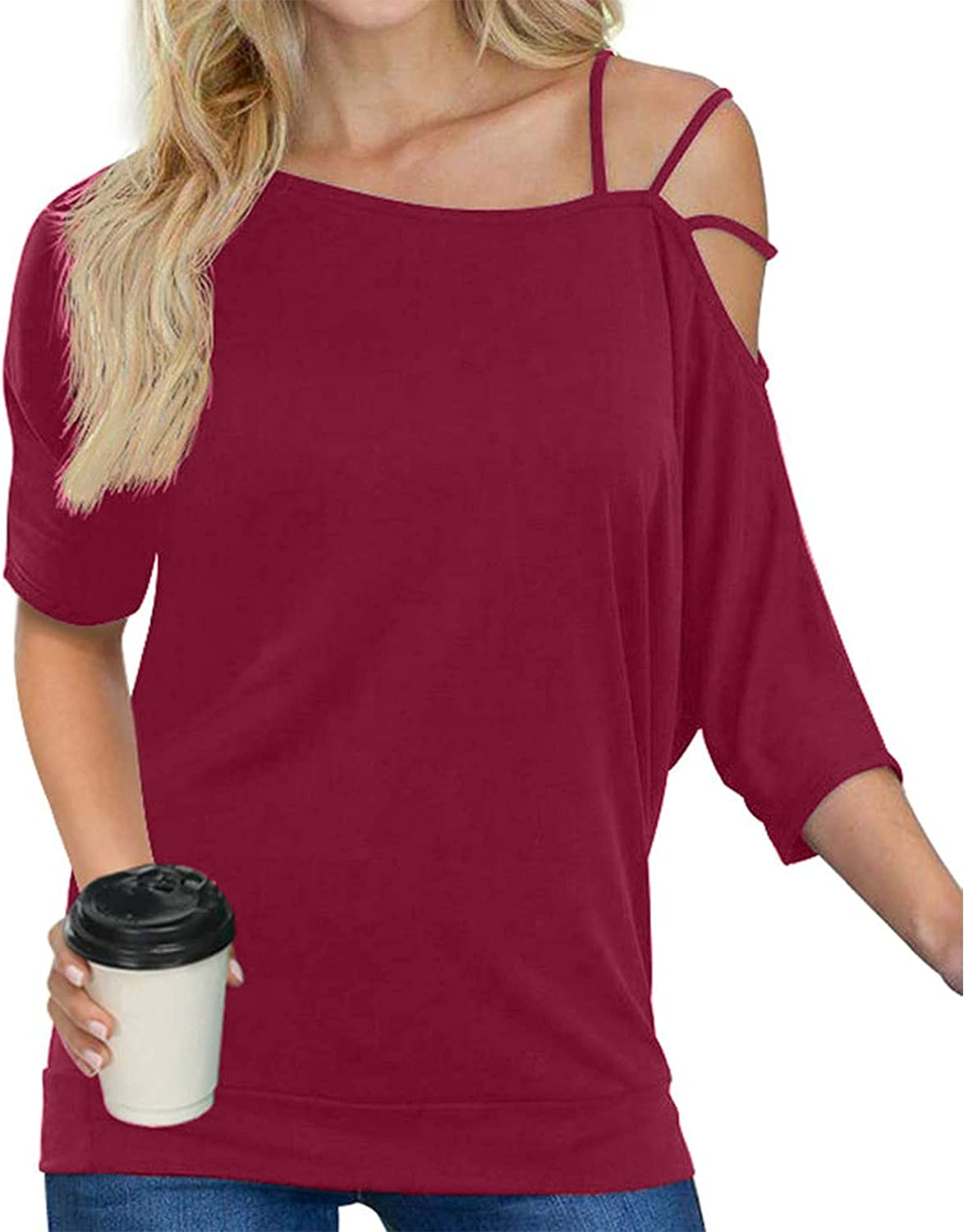 Tshirts for Womens Selling Casual Tops Off One Women Strap New item Shoulder
