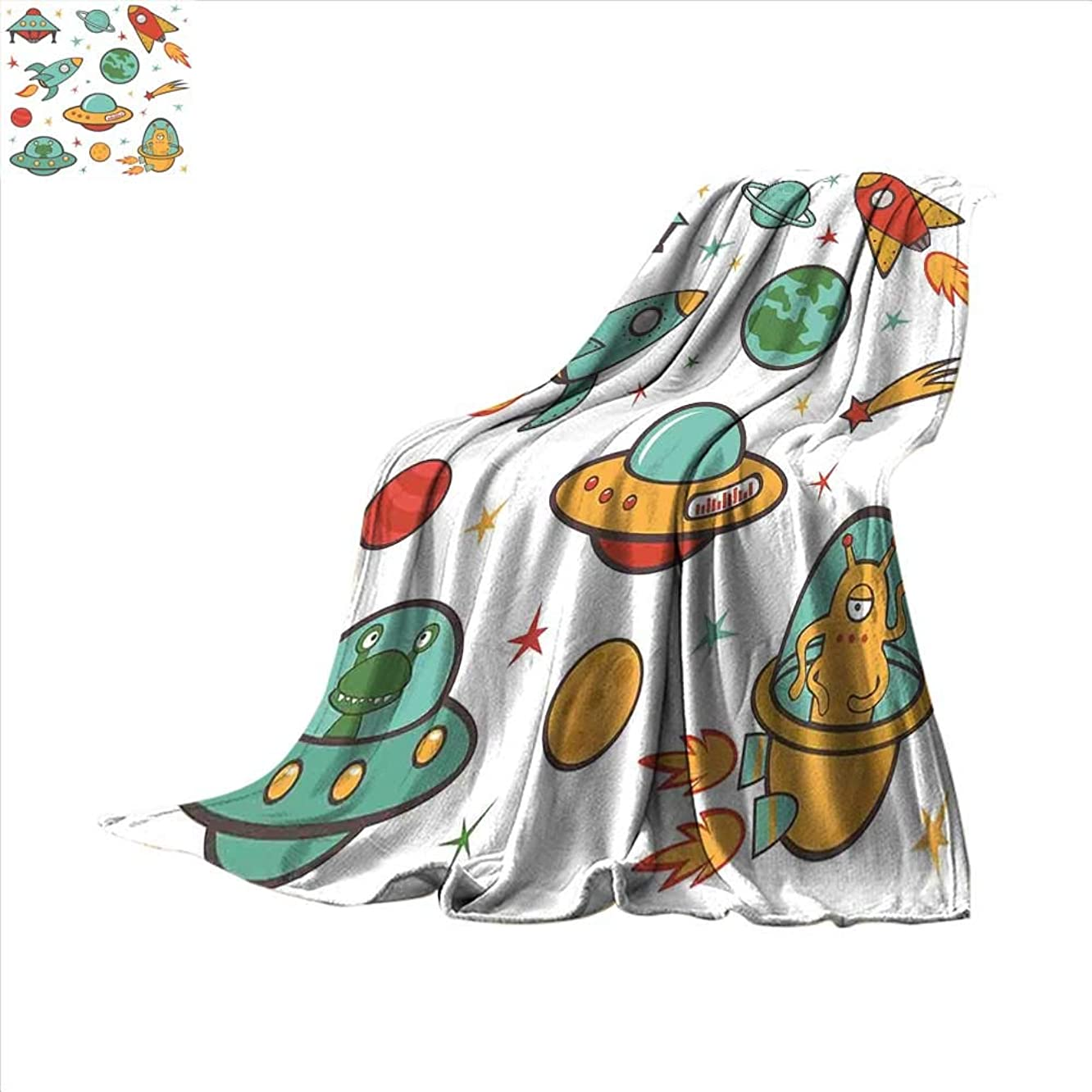 smallbeefly Kids Room Digital Printing Blanket Outer Space Theme Rocket Space Ship UFO Stars Planets Alien Earth Saturn Galaxy Print Summer Quilt Comforter 62